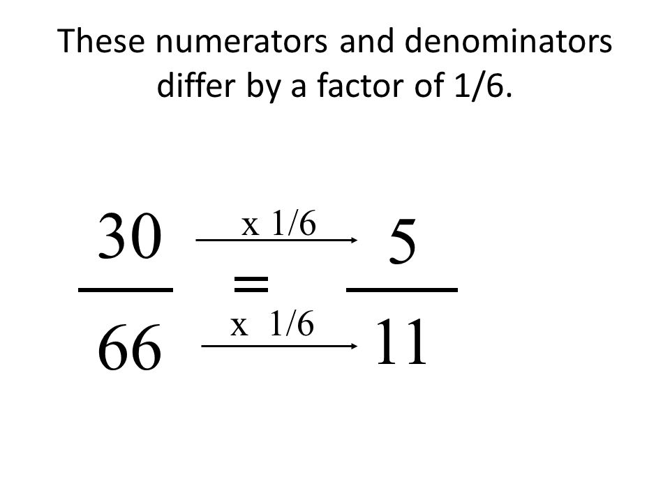 These numerators and denominators differ by a factor of 1/6. 5 30 66 11 x 1/6