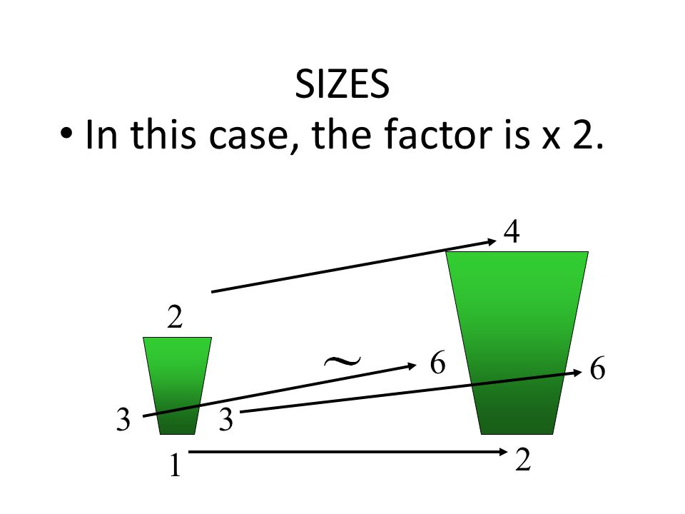 SIZES In this case, the factor is x 2. 33 2 1 6 6 2 4