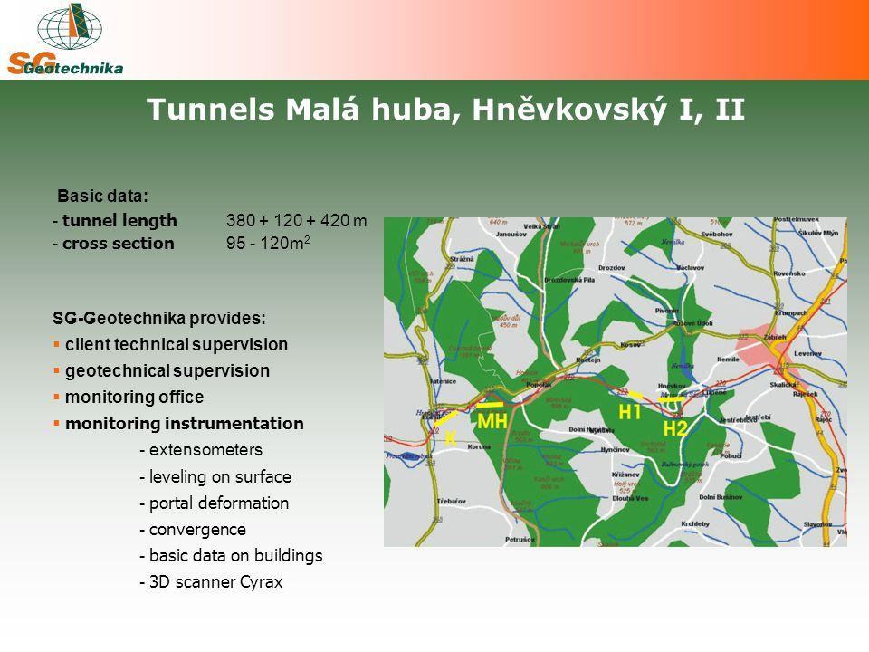 Basic data: - tunnel length 380 + 120 + 420 m - cross section 95 - 120m 2 SG-Geotechnika provides:  client technical supervision  geotechnical supervision  monitoring office  monitoring instrumentation - extensometers - leveling on surface - portal deformation - convergence - basic data on buildings - 3D scanner Cyrax Tunnels Malá huba, Hněvkovský I, II