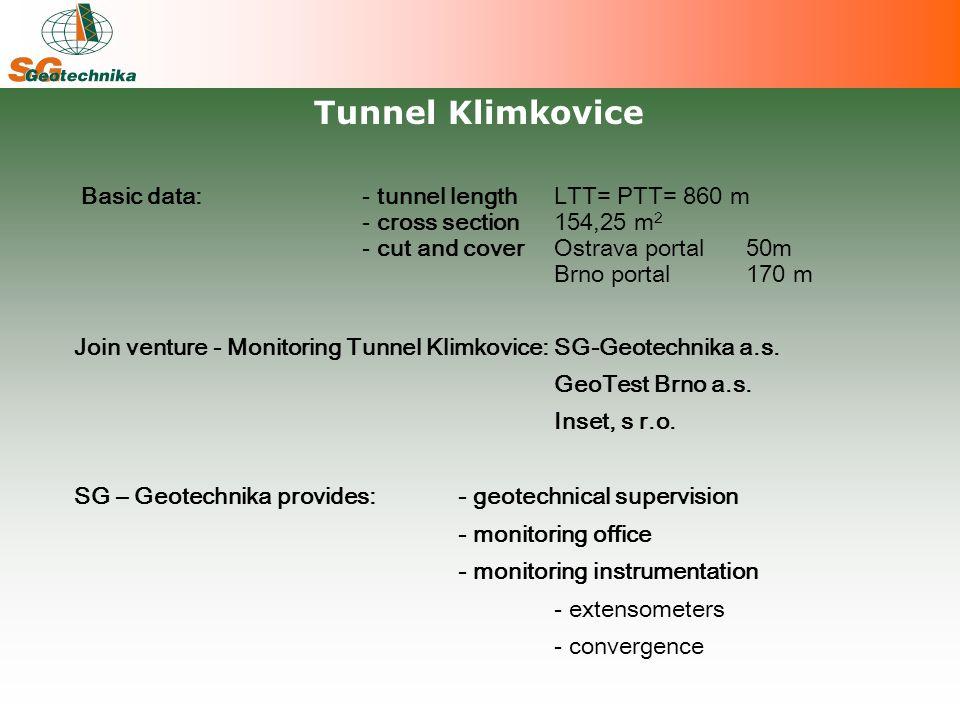 Basic data:- tunnel length LTT= PTT= 860 m - cross section154,25 m 2 - cut and cover Ostrava portal 50m Brno portal 170 m Join venture - Monitoring Tunnel Klimkovice:SG-Geotechnika a.s.