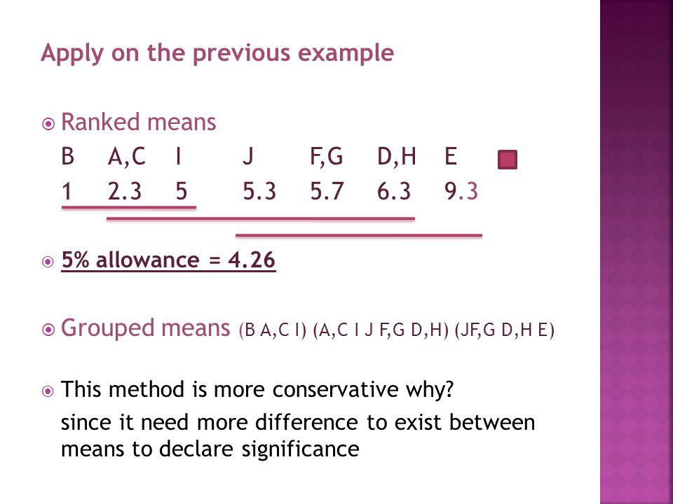 Apply on the previous example  Ranked means BA,CIJF,GD,HE 12.355.35.76.39.3  5% allowance = 4.26  Grouped means (B A,C I) (A,C I J F,G D,H) (JF,G D,H E)  This method is more conservative why.