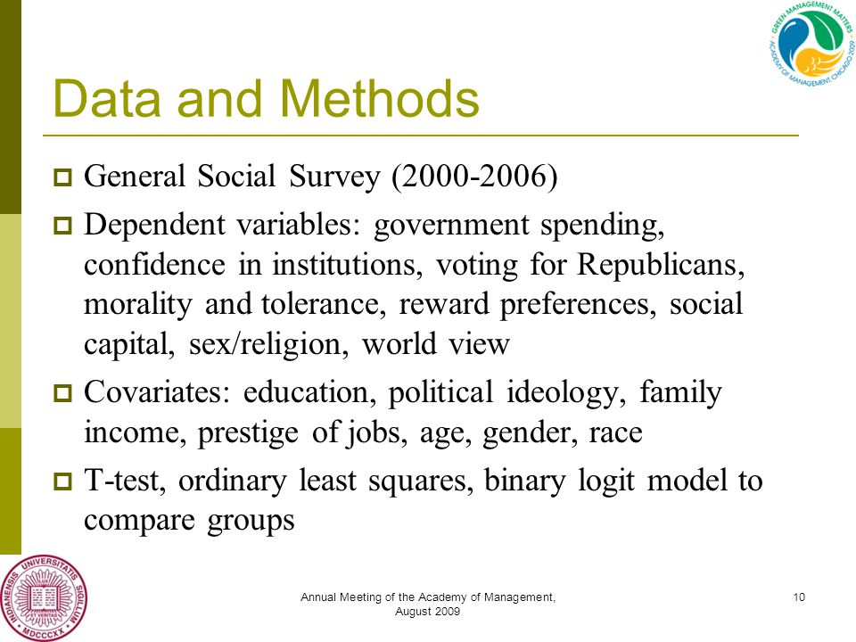Annual Meeting of the Academy of Management, August 2009 10 Data and Methods  General Social Survey (2000-2006)  Dependent variables: government spending, confidence in institutions, voting for Republicans, morality and tolerance, reward preferences, social capital, sex/religion, world view  Covariates: education, political ideology, family income, prestige of jobs, age, gender, race  T-test, ordinary least squares, binary logit model to compare groups