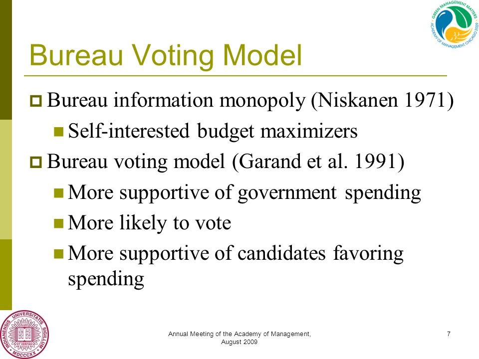 Annual Meeting of the Academy of Management, August 2009 7 Bureau Voting Model  Bureau information monopoly (Niskanen 1971) Self-interested budget maximizers  Bureau voting model (Garand et al.