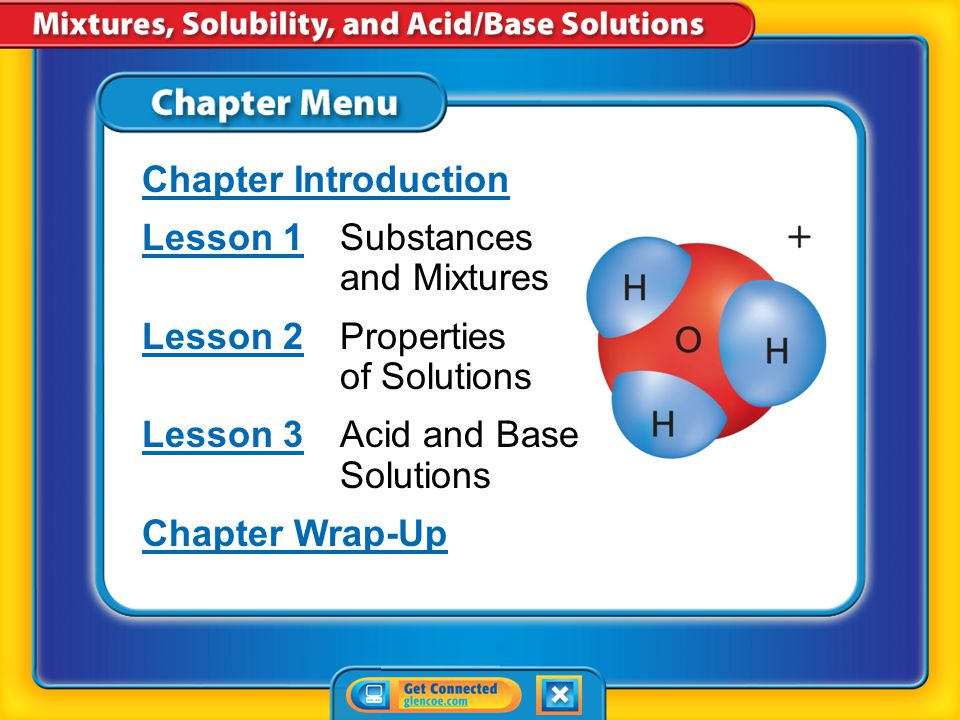 Chapter Menu Chapter Introduction Lesson 1Lesson 1Substances and Mixtures Lesson 2Lesson 2Properties of Solutions Lesson 3Lesson 3Acid and Base Solutions Chapter Wrap-Up