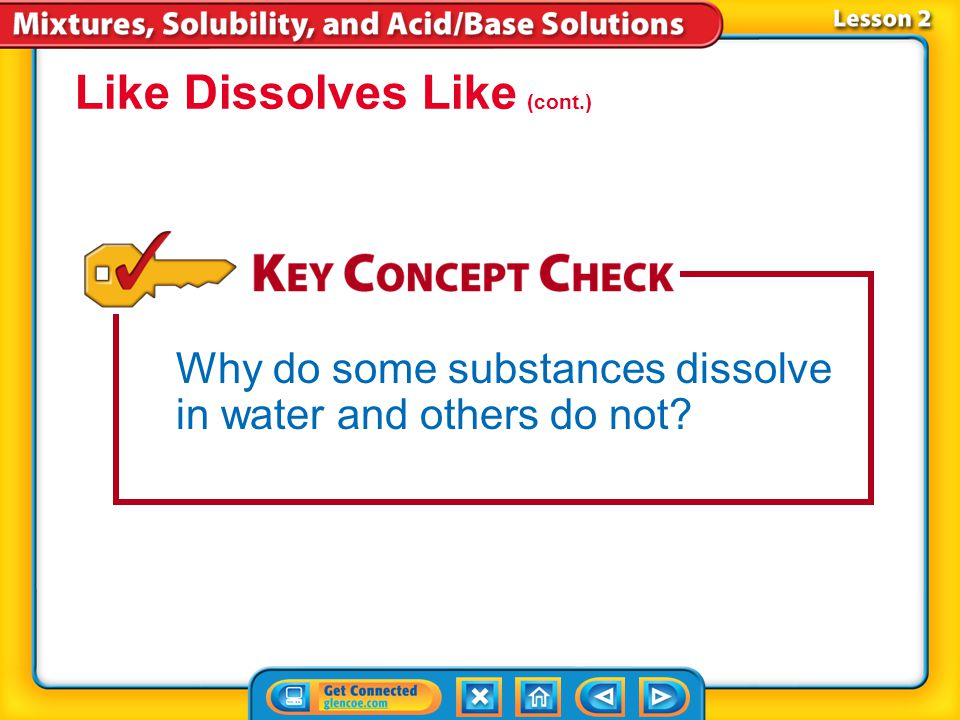 Lesson 2-4 Water is often called the universal solvent because it dissolves many different substances. Polar solvents dissolve polar solutes easily. N