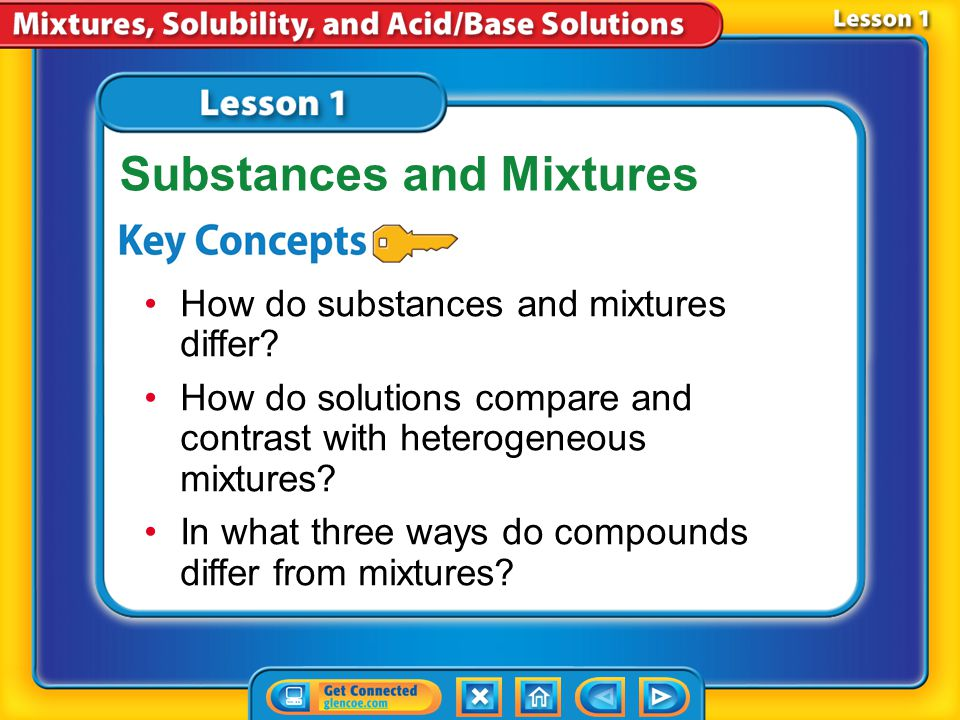 Lesson 1 Reading Guide - KC How do substances and mixtures differ.