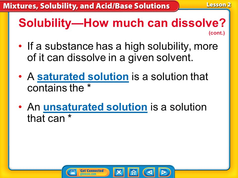 Lesson 2-6 Solubility—How much can dissolve? (cont.) How do concentration and solubility differ?