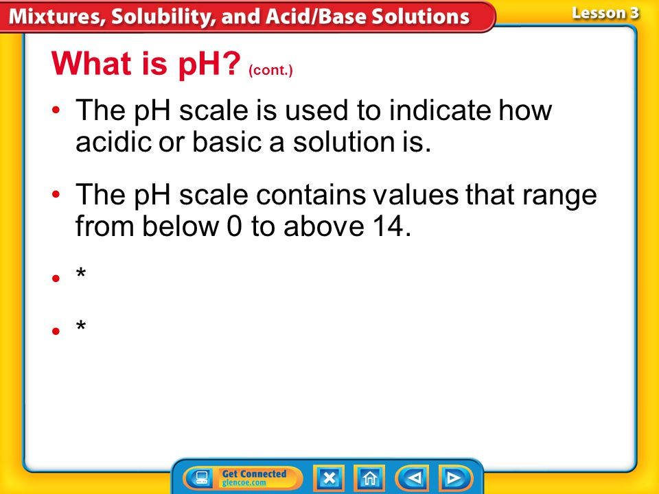 Lesson 3-2 What is pH? (cont.) How does the concentration of hydronium ions affect pH?