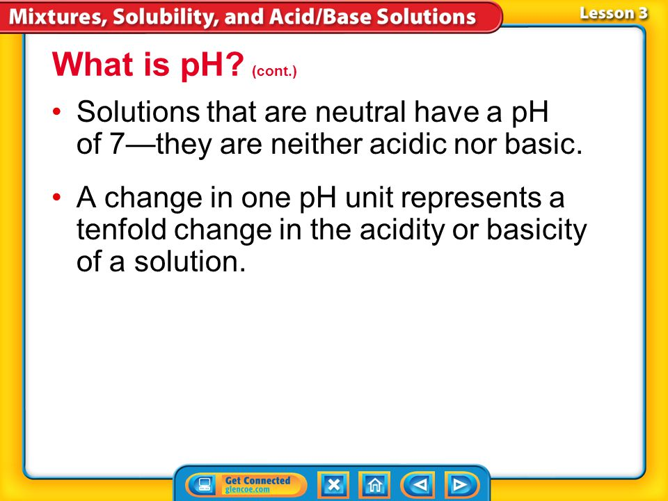 Lesson 3-2 The pH scale is used to indicate how acidic or basic a solution is. The pH scale contains values that range from below 0 to above 14. * * W