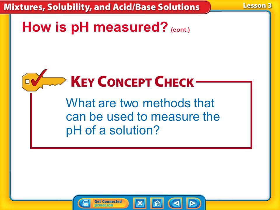 Lesson 3-3 The pH of a solution can be measured by dipping a pH testing strip into the solution. A more accurate way to measure pH is to use a pH mete