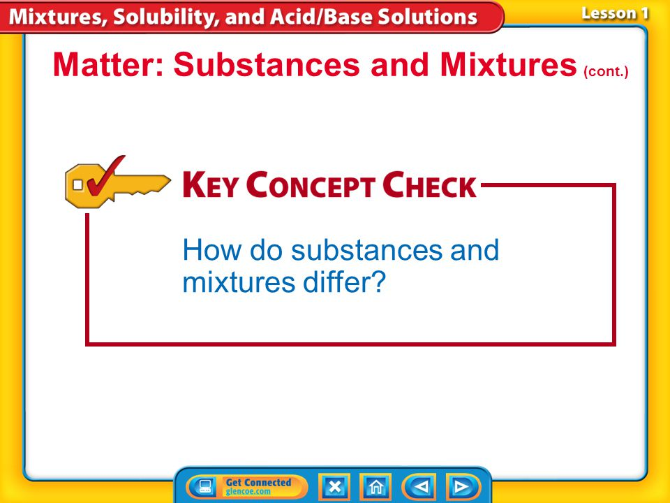 Lesson 1-1 Matter: Substances and Mixtures (cont.) How do substances and mixtures differ?