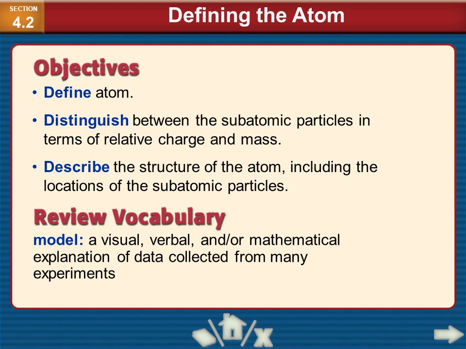 Define atom. model: a visual, verbal, and/or mathematical explanation of data collected from many experiments Distinguish between the subatomic partic