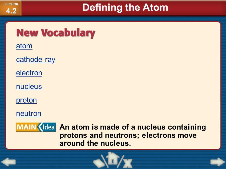 atom cathode ray electron nucleus proton neutron An atom is made of a nucleus containing protons and neutrons; electrons move around the nucleus. SECT
