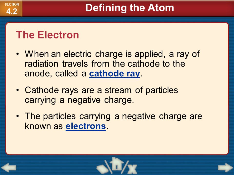 The Electron When an electric charge is applied, a ray of radiation travels from the cathode to the anode, called a cathode ray. Cathode rays are a st