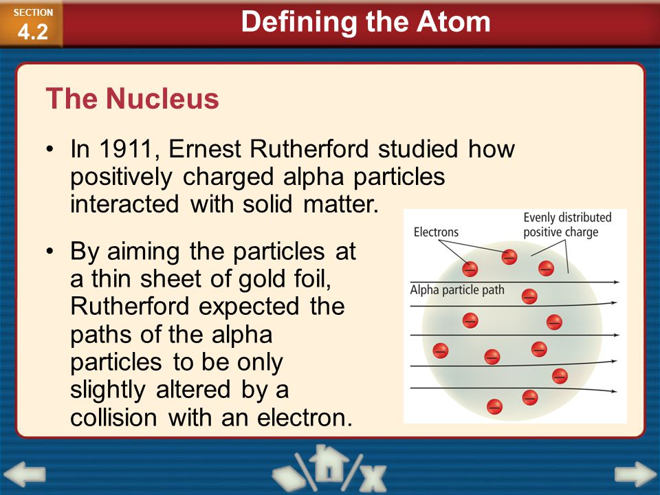 The Nucleus In 1911, Ernest Rutherford studied how positively charged alpha particles interacted with solid matter. By aiming the particles at a thin