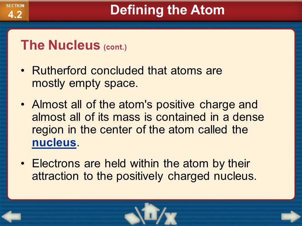 The Nucleus (cont.) Rutherford concluded that atoms are mostly empty space. Almost all of the atom's positive charge and almost all of its mass is con
