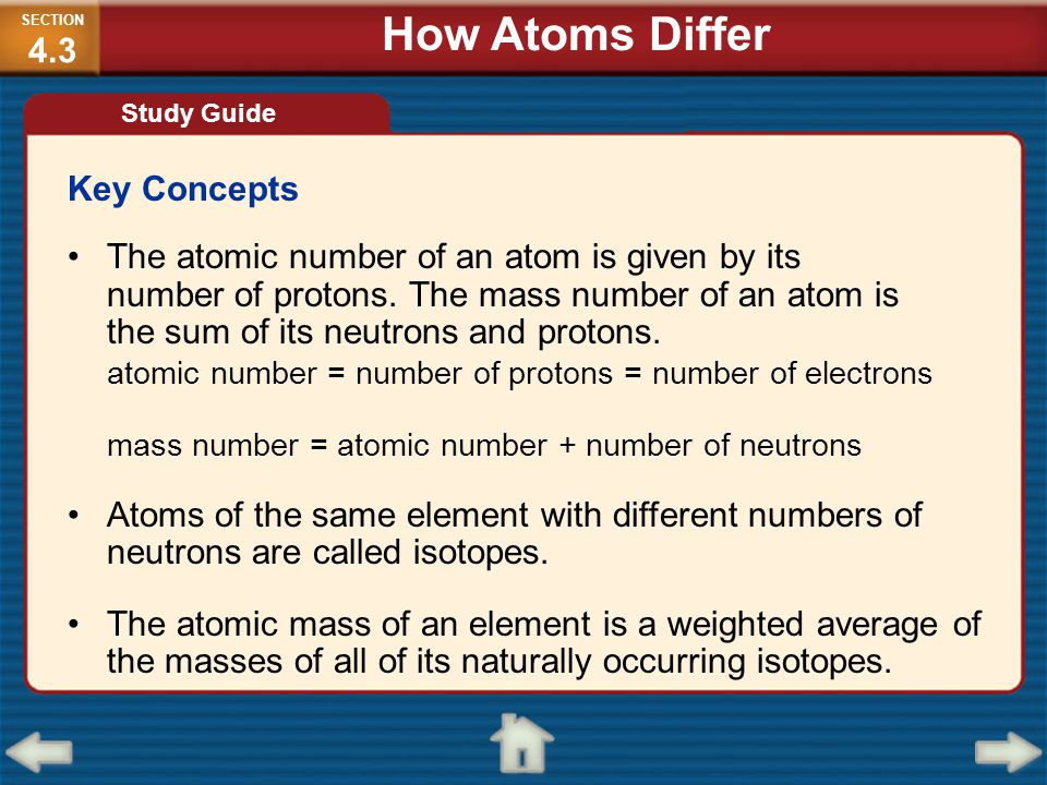 Key Concepts The atomic number of an atom is given by its number of protons. The mass number of an atom is the sum of its neutrons and protons. atomic
