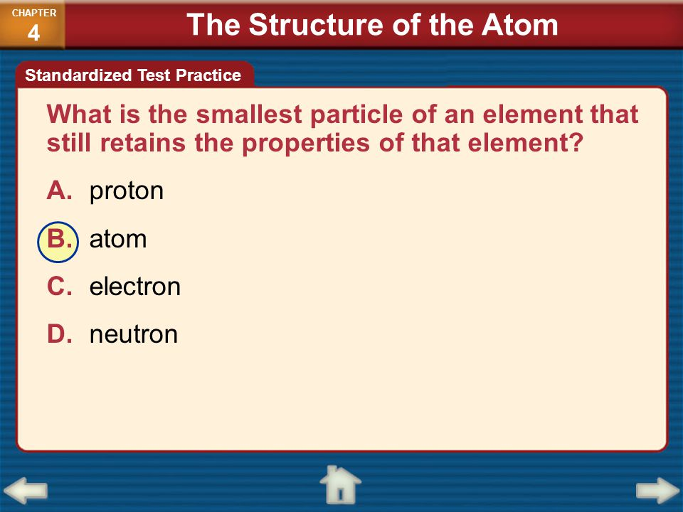 What is the smallest particle of an element that still retains the properties of that element? A.proton B.atom C.electron D.neutron CHAPTER 4 Standard