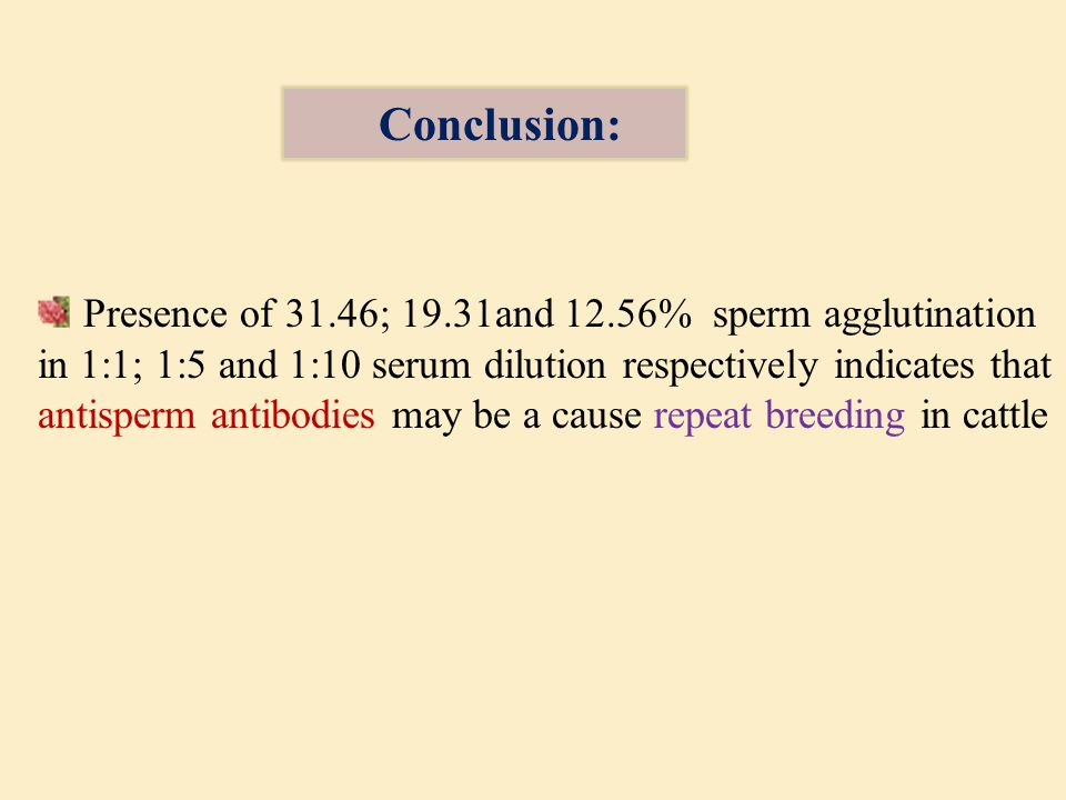 Presence of 31.46; 19.31and 12.56% sperm agglutination in 1:1; 1:5 and 1:10 serum dilution respectively indicates that antisperm antibodies may be a cause repeat breeding in cattle Conclusion:
