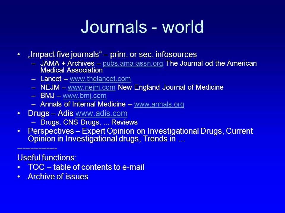 "Journals - world ""Impact five journals – prim. or sec."