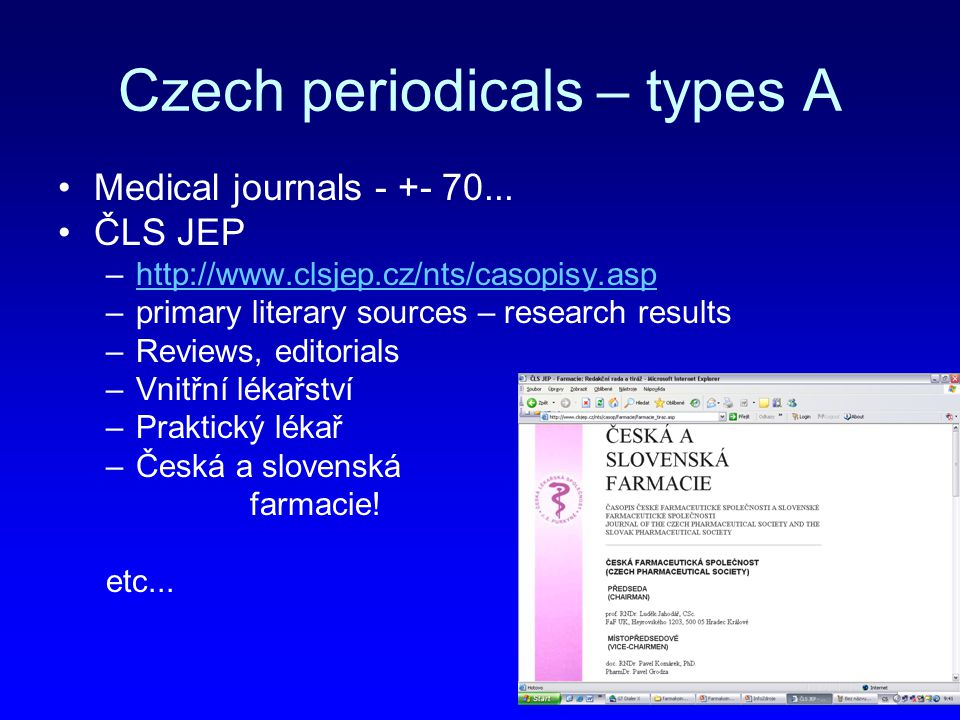 Czech periodicals – types A Medical journals - +- 70...