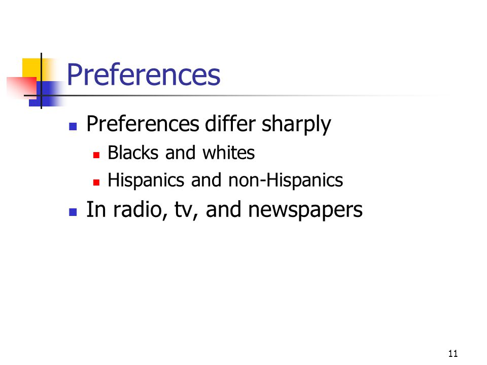 11 Preferences Preferences differ sharply Blacks and whites Hispanics and non-Hispanics In radio, tv, and newspapers