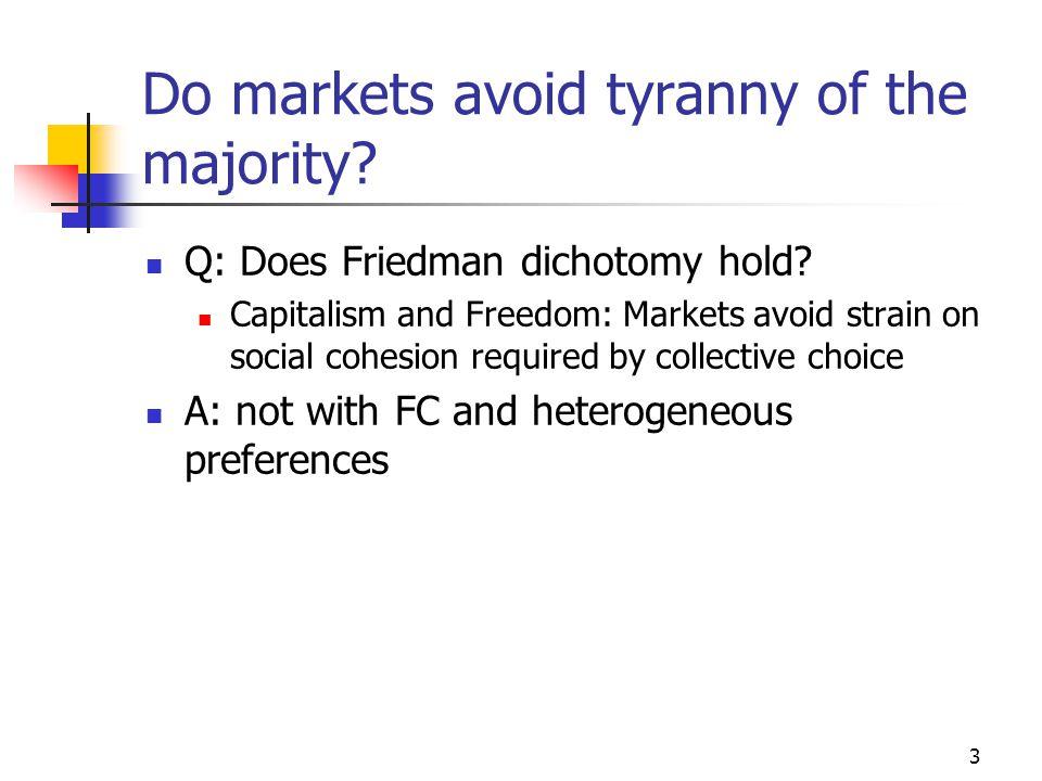 3 Do markets avoid tyranny of the majority. Q: Does Friedman dichotomy hold.