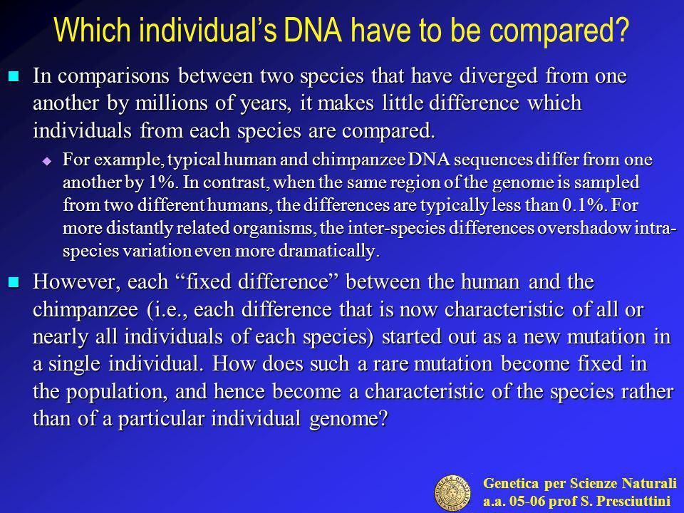Genetica per Scienze Naturali a.a.05-06 prof S.