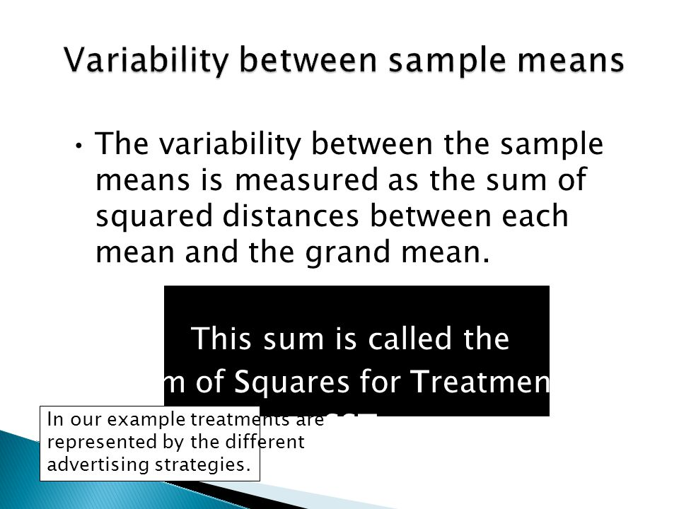 The variability between the sample means is measured as the sum of squared distances between each mean and the grand mean.