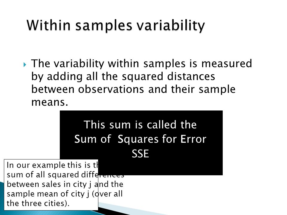  The variability within samples is measured by adding all the squared distances between observations and their sample means.