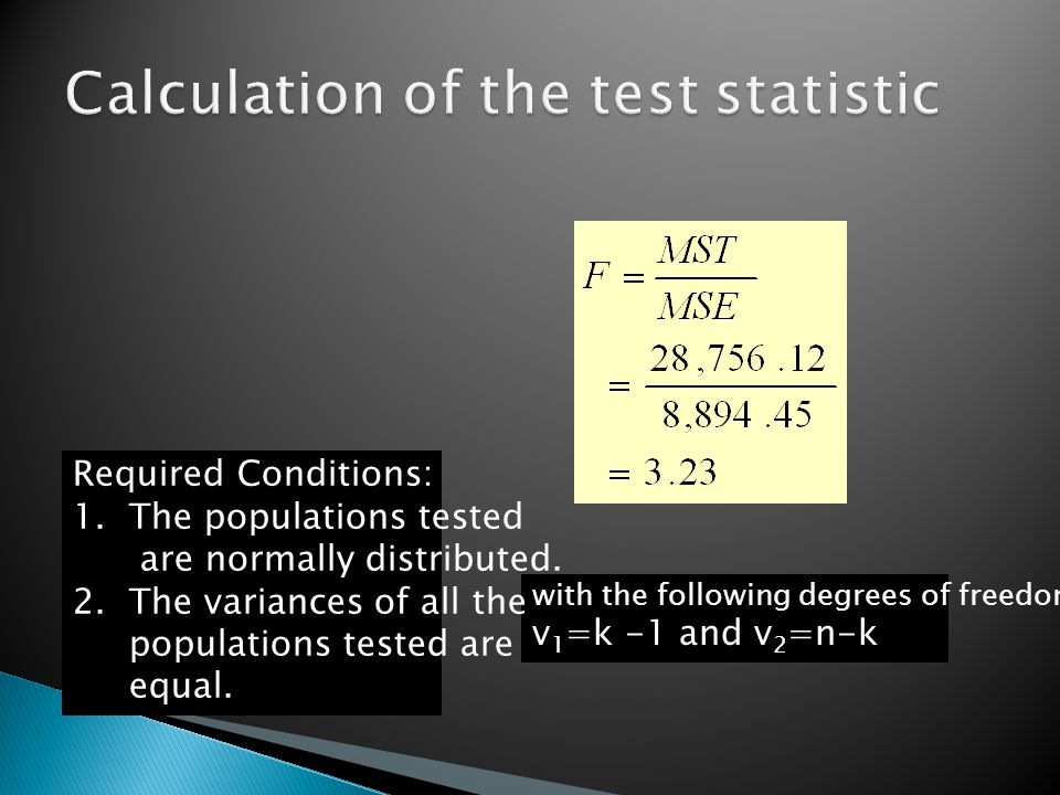 with the following degrees of freedom: v 1 =k -1 and v 2 =n-k Required Conditions: 1. The populations tested are normally distributed. 2. The variance