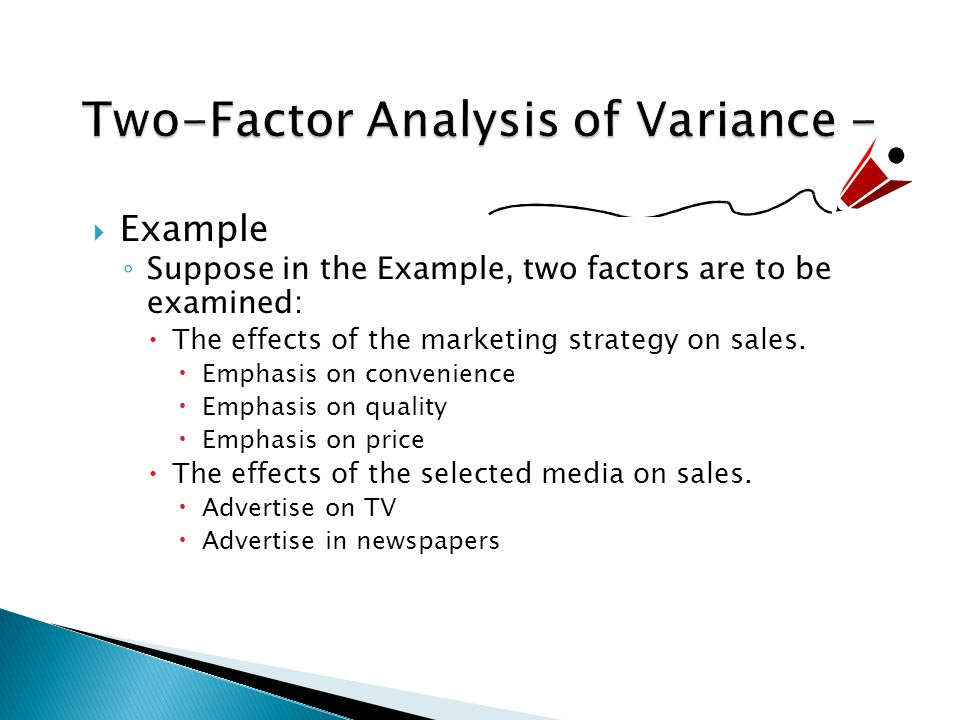  Example ◦ Suppose in the Example, two factors are to be examined:  The effects of the marketing strategy on sales.  Emphasis on convenience  Emph
