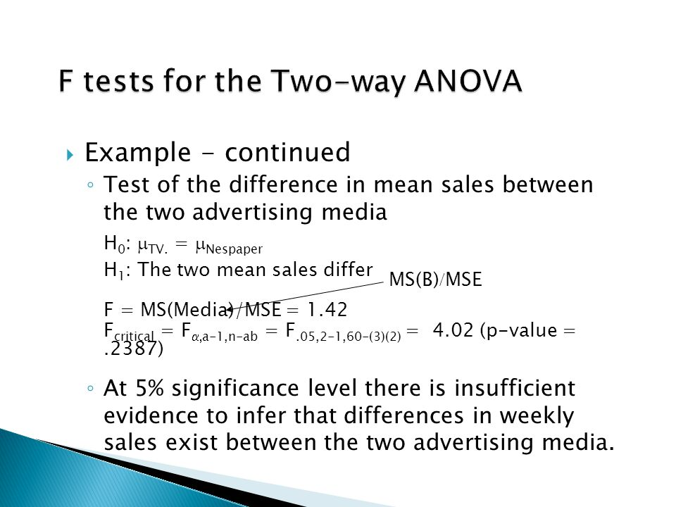  Example - continued ◦ Test of the difference in mean sales between the two advertising media H 0 :  TV.