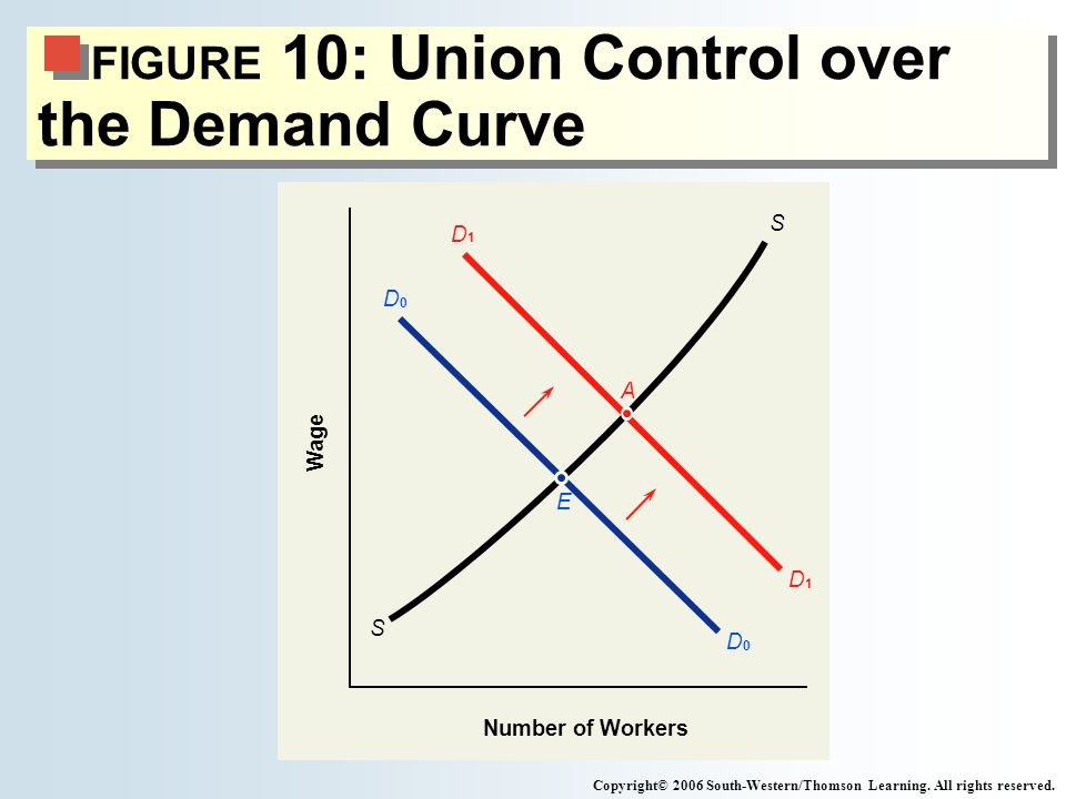 FIGURE 10: Union Control over the Demand Curve Copyright© 2006 South-Western/Thomson Learning.