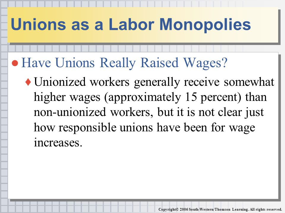 ●Have Unions Really Raised Wages.