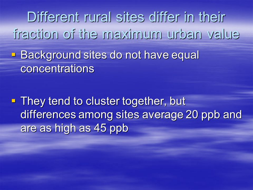 Different rural sites differ in their fraction of the maximum urban value  Background sites do not have equal concentrations  They tend to cluster together, but differences among sites average 20 ppb and are as high as 45 ppb