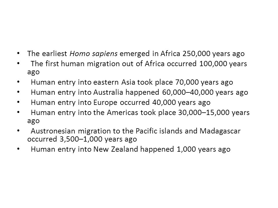 The earliest Homo sapiens emerged in Africa 250,000 years ago The first human migration out of Africa occurred 100,000 years ago Human entry into east
