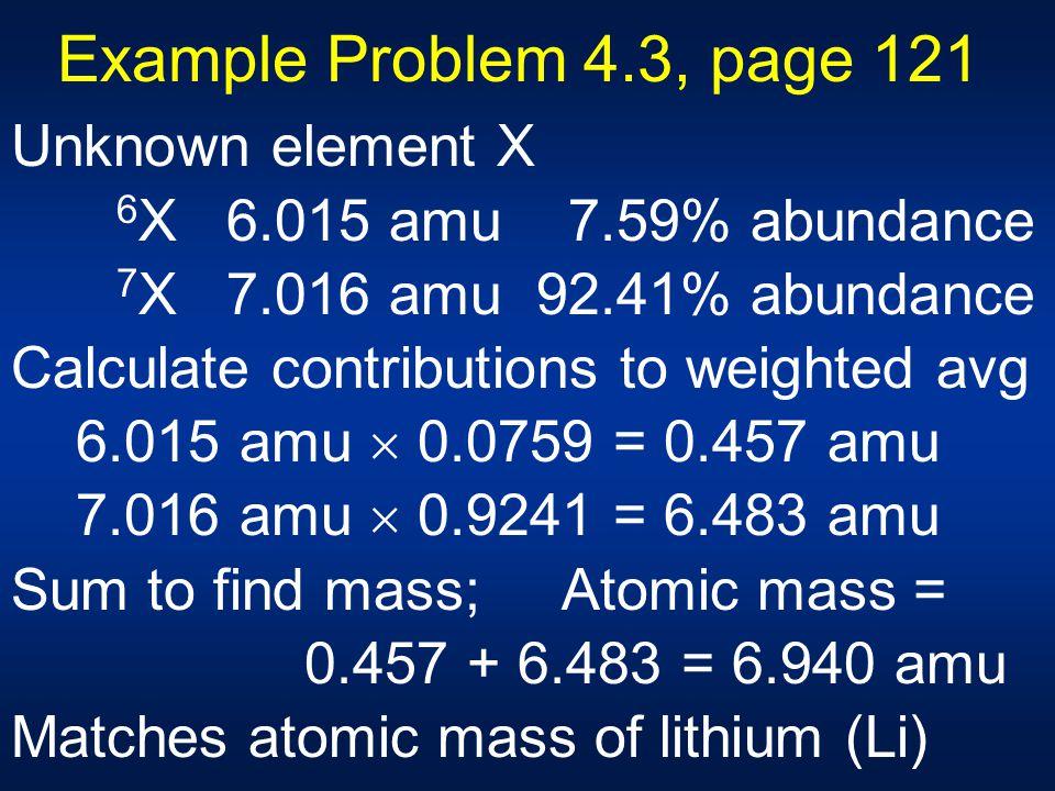 Example Problem 4.3, page 121 Unknown element X 6 X 6.015 amu 7.59% abundance 7 X 7.016 amu 92.41% abundance Calculate contributions to weighted avg 6