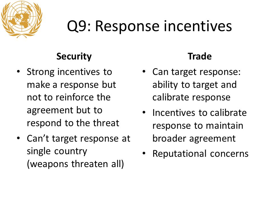 Q9: Response incentives Security Strong incentives to make a response but not to reinforce the agreement but to respond to the threat Can't target response at single country (weapons threaten all) Trade Can target response: ability to target and calibrate response Incentives to calibrate response to maintain broader agreement Reputational concerns