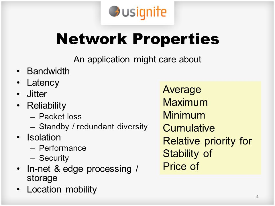 Network Properties An application might care about Bandwidth Latency Jitter Reliability –Packet loss –Standby / redundant diversity Isolation –Perform