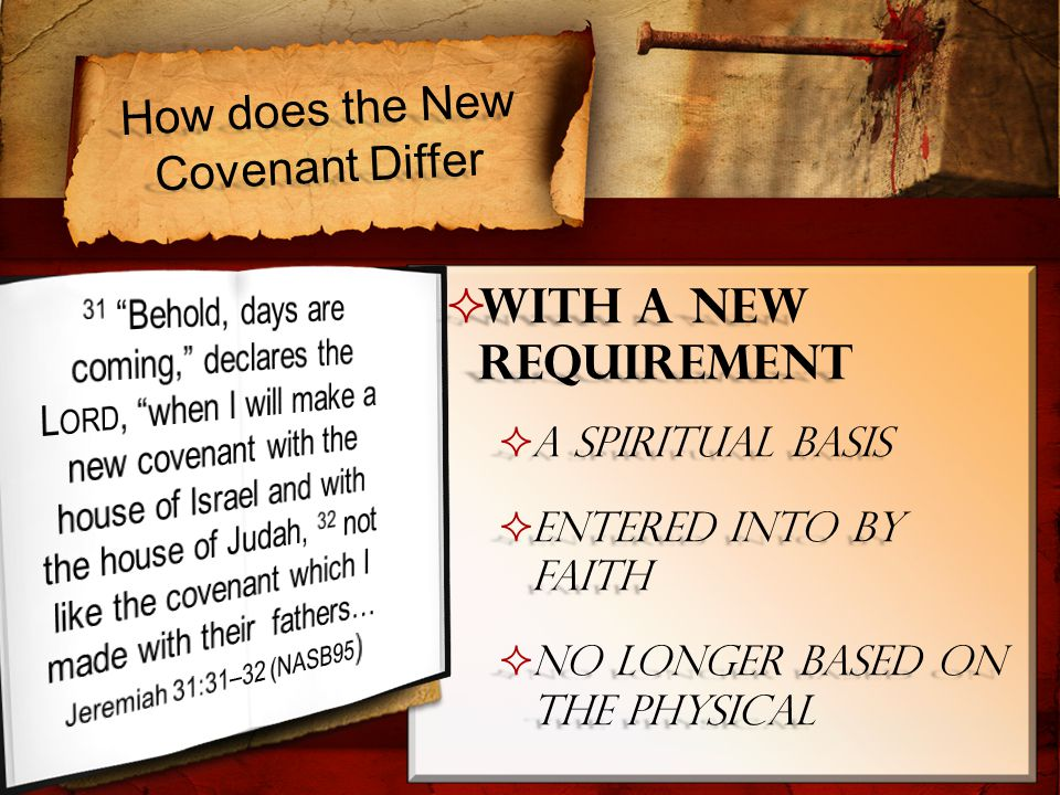 How does the New Covenant Differ  With A new requirement  A spiritual basis  Entered into by faith  No longer based on the Physical