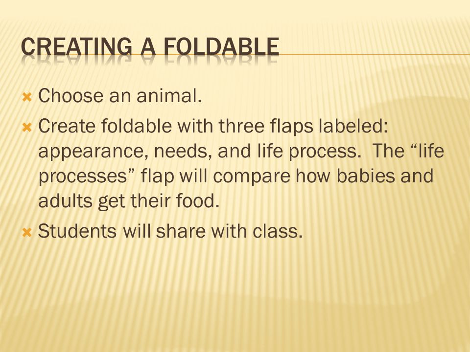 """ Choose an animal.  Create foldable with three flaps labeled: appearance, needs, and life process. The """"life processes"""" flap will compare how babies"""