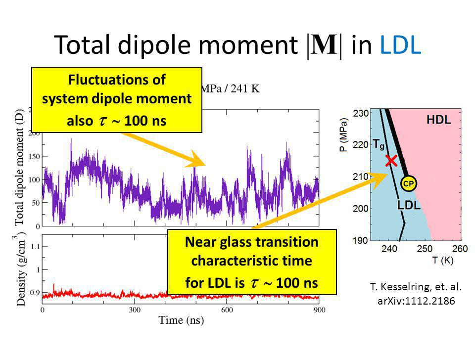 Total dipole moment |M| in LDL Near glass transition characteristic time for LDL is   100 ns Fluctuations of system dipole moment also   100 ns T.
