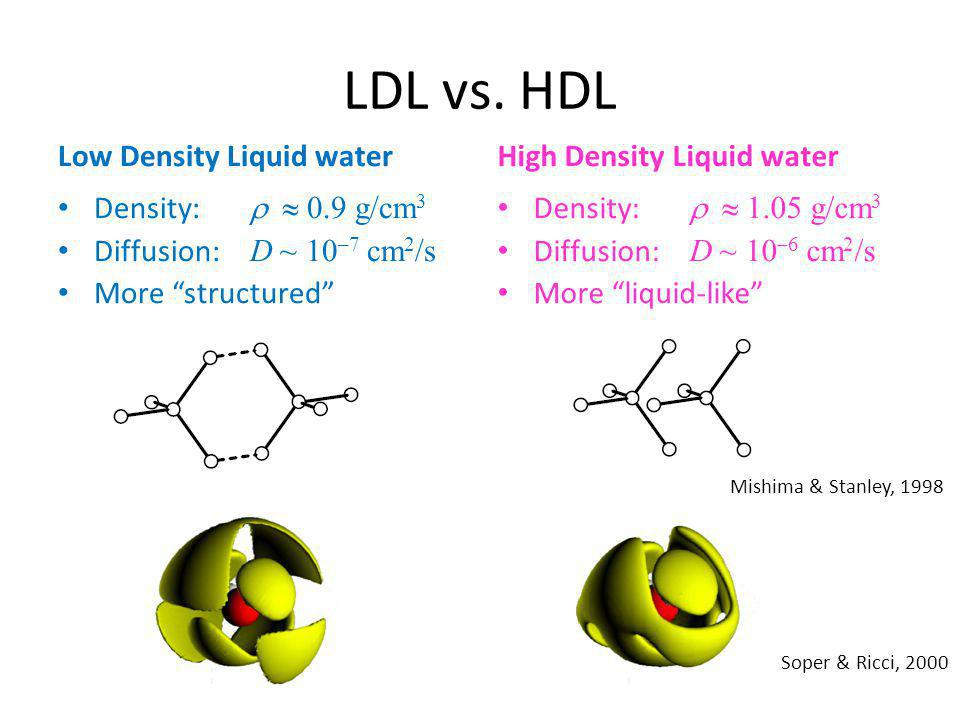 """LDL vs. HDL Low Density Liquid water Density:   0.9 g/cm 3 Diffusion: D ~ 10 –7 cm 2 /s More """"structured"""" High Density Liquid water Density:   1.0"""