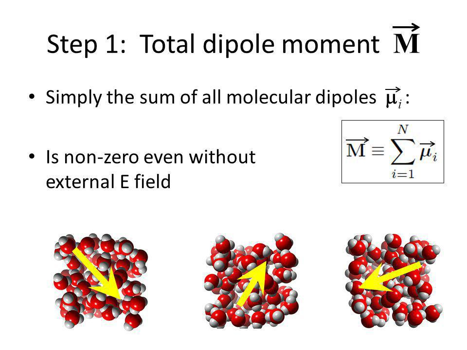 Step 1: Total dipole moment M Simply the sum of all molecular dipoles  i : Is non-zero even without external E field
