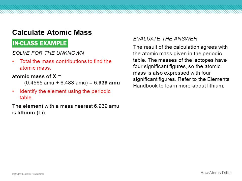 How Atoms Differ Copyright © McGraw-Hill Education Calculate Atomic Mass EVALUATE THE ANSWER The result of the calculation agrees with the atomic mass