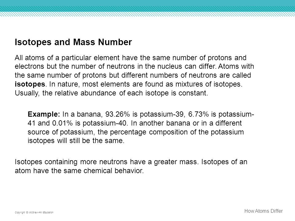 Isotopes and Mass Number All atoms of a particular element have the same number of protons and electrons but the number of neutrons in the nucleus can