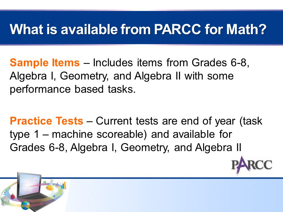 What is available from PARCC for Math.