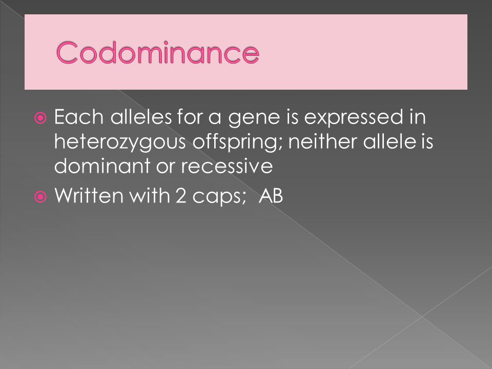  Each alleles for a gene is expressed in heterozygous offspring; neither allele is dominant or recessive  Written with 2 caps; AB