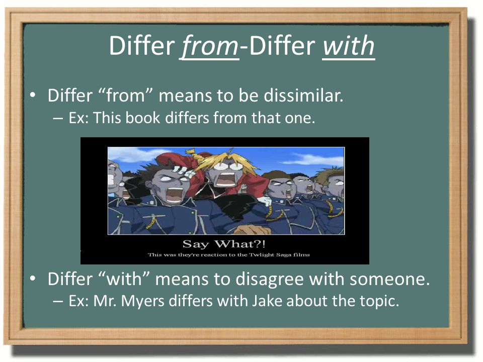 """Differ from-Differ with Differ """"from"""" means to be dissimilar. – Ex: This book differs from that one. Differ """"with"""" means to disagree with someone. – E"""
